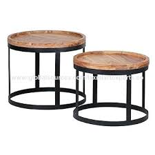 round wooden end table industrial round wooden top metal base side table end table set of