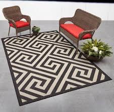 7 x 10 indoor outdoor area rug black tan contemporary geometric modern design