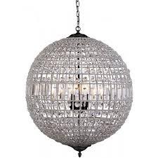 bronze crystal ball chandelier light milles large 3 light