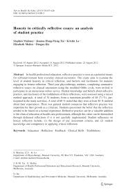 pdf honesty in critically reflective essays an ysis of student practice
