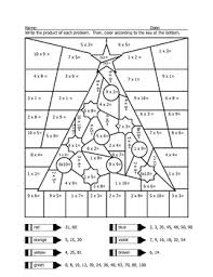 Small Picture Christmas Tree Multiplication Coloring Sheet Multiplication