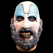 officially licensed full overhead latex mask of the character sid haig made famous plete with sick clown makeup and a bushy beard