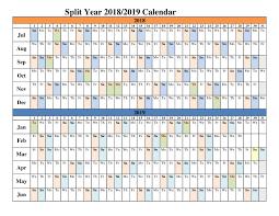 2018 2019 Split Year Calendars Blank Templates Calendar