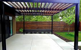 modern concrete patio. Custom Modern Metal Arbor On Contemporary Concrete Patio Mile E