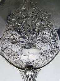 Antique Silver Art Nouveau Hand Mirror 1911 England by OMAR