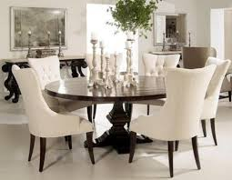elegant square black mahogany dining table: round dining table with elegant white chairs