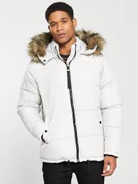 men clothing river island detachable faux fur hood padded coat light grey rilsit