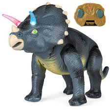 Triceratops Light Best Choice Products 14 5in Kids Remote Control Walking Dinosaur Triceratops Toy Robot W Light Up Eyes Roaring Sounds