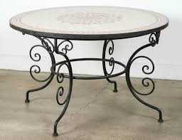 moroccan outdoor round mosaic tile dining table on iron base 47 in for 1