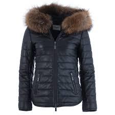 lindel leather jacket with fur trim hood in black