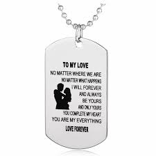 whole stainless steel necklace to my love couple necklace dog tag pendant necklaces love forever jewelry valentine s day present love necklaces gold