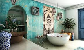 interesting moroccan bathroom decor ideas with distressed sea blue wall