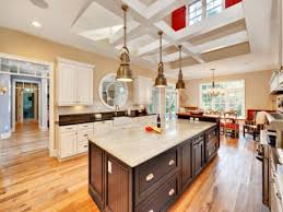 Wooden Floor Kitchen Kitchen Islands Ideas Ornamental Plant Grey Flooring Neat