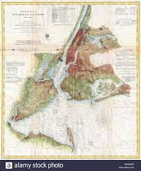 Chart Of New York Harbor English A Rare 1861 Costal Chart Of New York City Its