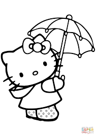 Small Picture Lovely Hello Kitty Under the Umbrella coloring page Free