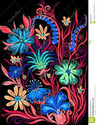 painted flowers on black background flower background on black watercolor painting on paper stock