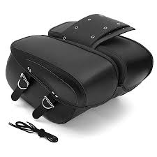 flash deal black leather motorcycle universal saddle bags rider motorbike panniers luggage