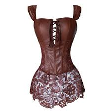 faux leather corset dress steampunk zip corselet gothic clothing black coffee red y party outfits s 6xl plus size