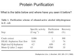 Protein Purification Chart Protein Purification Lecture