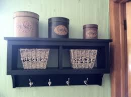 2 cubby wall shelf country shelf for baskets bath or entryway w hooks