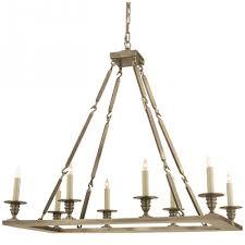 rectangular flat line chandelier in antique nick