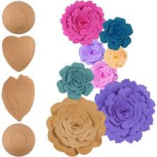 jetec 2 sets rose and peony paper flower template kit instruction included diy your own wall backdrop decoration photo booth paper flower decoration