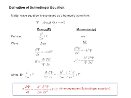 14 derivation of schrodinger equation matter wave equation is expressed as a harmonic wave form energy e momentum p particle mv wave since