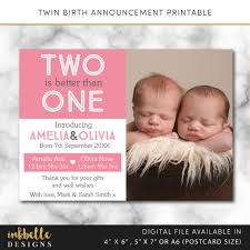 twin birth announcements photo cards twins birth announcement card digital file pdf diy baby