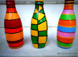 abstract and linear design bottle art