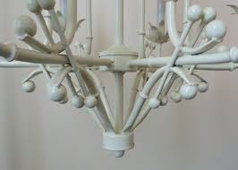 vintage faux bamboo chandelier italian tole paa hollywood glam white 6 lights modern