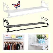 Wall mounted clothing rails Ideas Heavy Metal Clothes Rail Wall Mounted Garment Hanging Rackshelf Wardorbe Su Picclick Uk Heavy Metal Clothes Rail Wall Mounted Garment Hanging Rackshelf