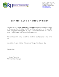 Example Of A Certificate Employment Well Foundinmi