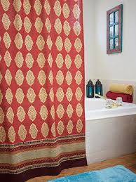 e route red orange moroccan indian shower curtain