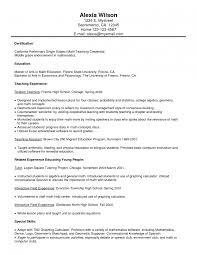 Excellent High School Meth Teacher Resume Sample With List Of Work