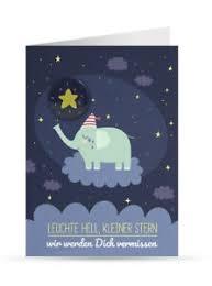 Trauerkarte Kind Baby Sternenkind Elefant Mit Button Und
