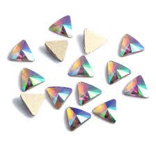 Nail rhinestones 5pcs green rainbow glass rhinestone for nail art ...