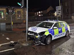 Police Car Lights Uk Cop Car Crashes Into Traffic Lights In Head On Smash Right