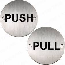 push pull door signs brushed metal round circular plates plaque s