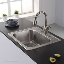 kraus 25 inch topmount single bowl 18 gauge stainless steel kitchen sink with noisedefend 8482