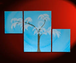aspen tree painting modern abstract triptych art huge original artwork large light blue asymmetrical multiple canvases