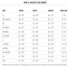 Sitka Waders Size Chart Redington Waders Size Chart