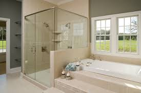 opportunities senior shower stalls white bathtub with beige tile stair connected by glass