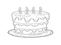 Birthday Cake Coloring Page With No Candles Pages Free Cakes
