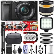 Sony Alpha A6300 243mp Mirrorless Digital Slr Camera Sony 16 50mm F35 56 Oss Lens Opteka 500mm 1000mm F63 Telephoto Mirror Lens 32gb