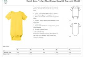 Rabbit Skins 4400 Size Chart Rabbit Skins Infant Short Sleeve Baby Rib Bodysuit Rs4400