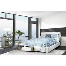 Contemporary White California King Size Bed Storage Padded Leatherette Bedframe Diamond Like Acrylic Classic Bedroom Furniture