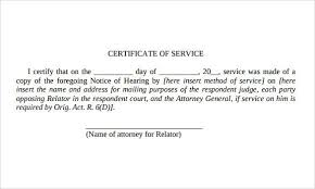 Service Certificate Format Certificate Of Service Template Download Certificate