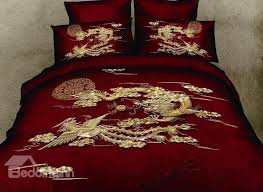 asian bedding sets awesome chinoiserie chinese style exquisite dragon and phoenix print red 4 of 22