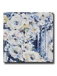 original art abstract painting modern floral navy blue white flowers roses fine art home wall decor 24x24  on navy blue flower wall art with original art abstract painting floral navy blue white flowers wall