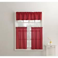918 martine red microfiber kitchen curtains 3 piece set 54